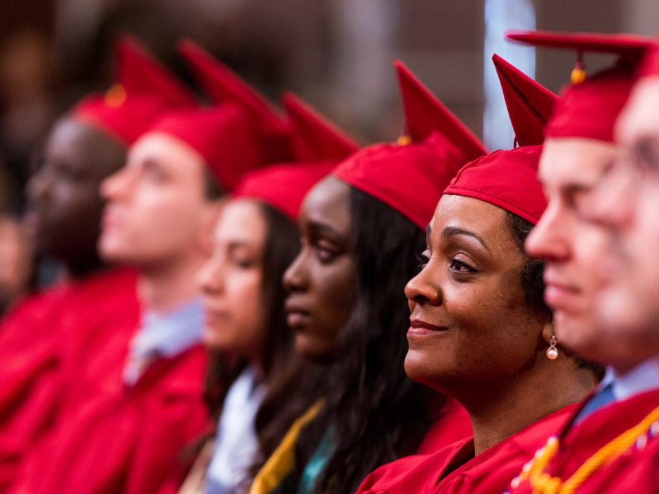 students at graduation, graduates degree, graduation