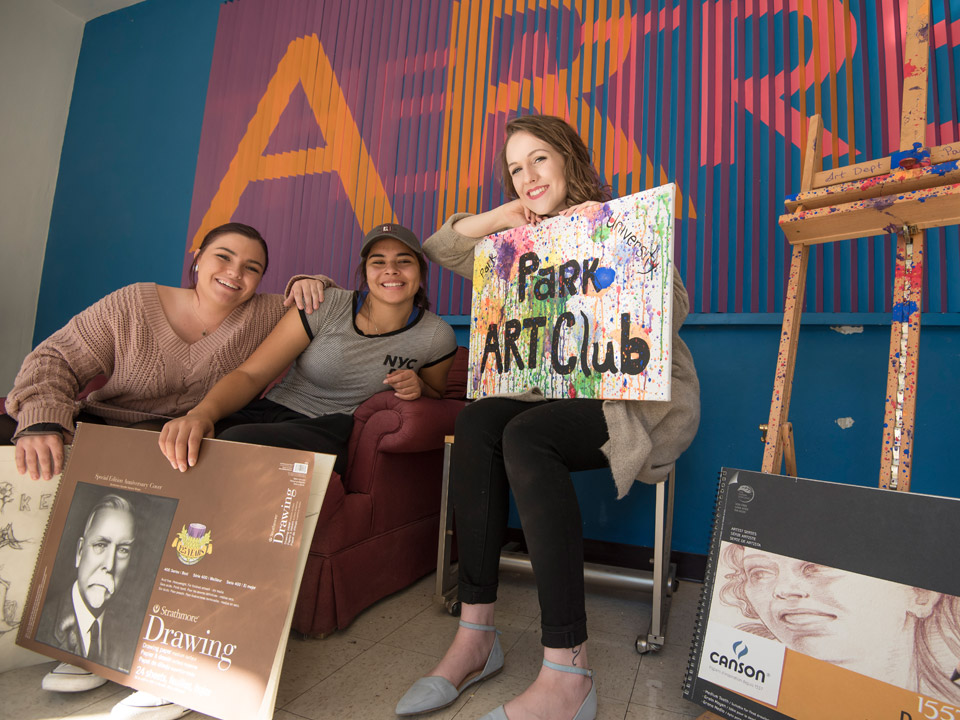 students in art club