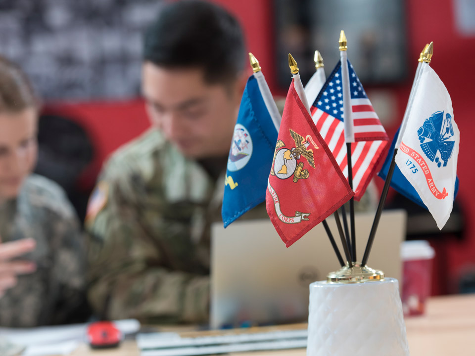 flags on table