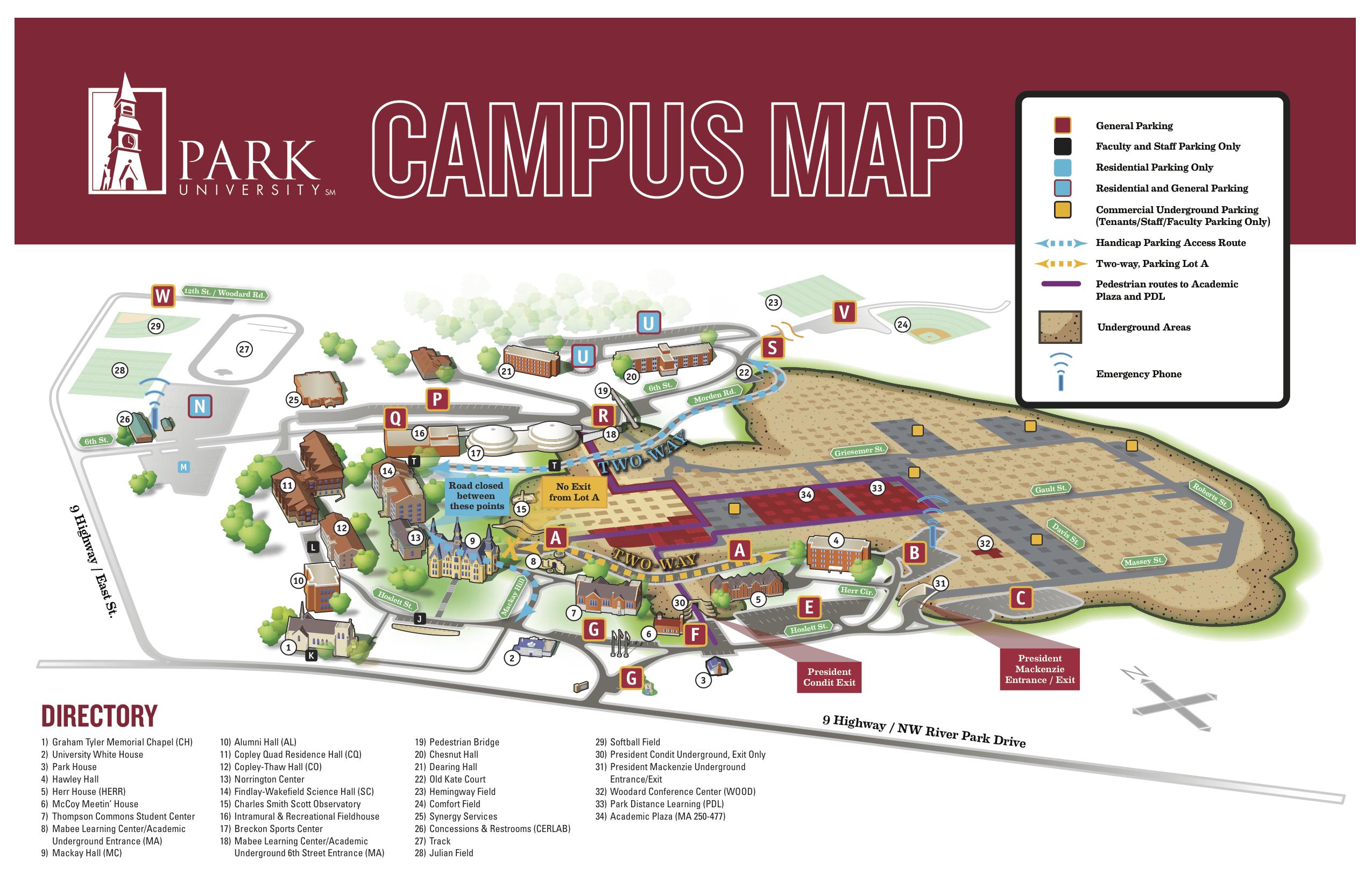 Campus Map 11x17 Park University
