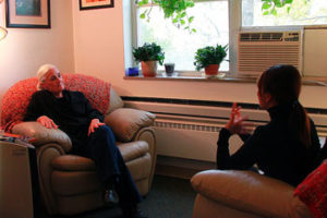 two people in a counseling session