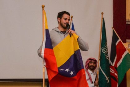 student with spanish flag