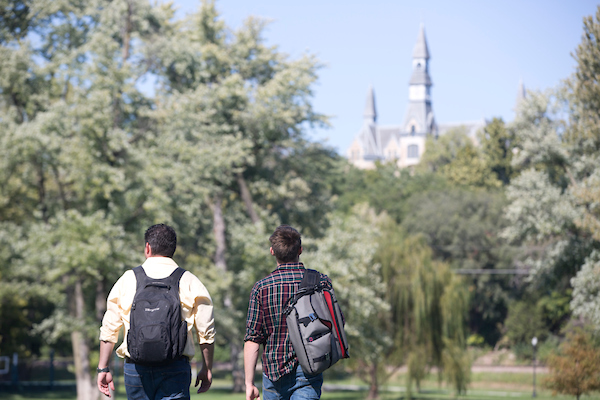 students walking in park