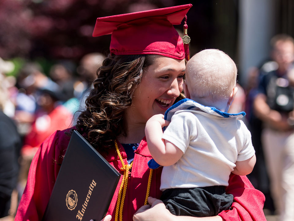 graduate with baby
