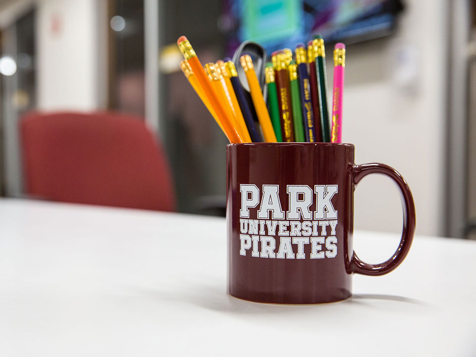 Park mug full of pencils