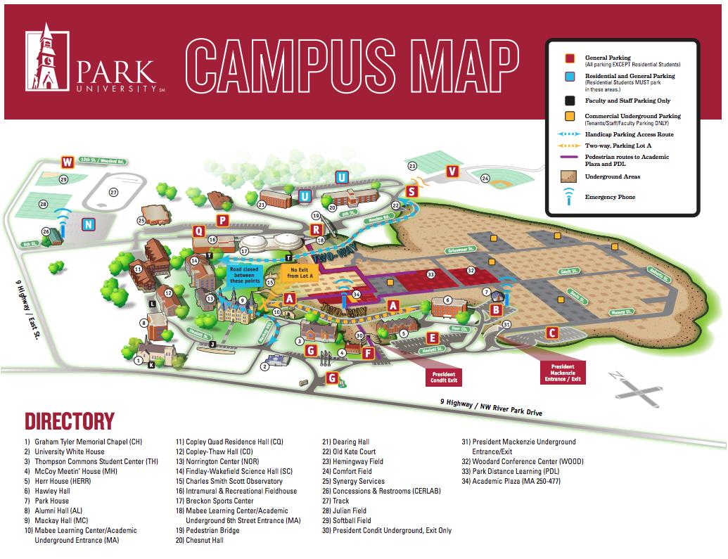 Parkville Campus Maps and Directions   Park University on u of sc bookstore, shuttle u of sc map, u of sc academic calendar, coastal carolina university map, univ of south carolina map,